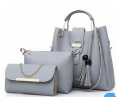 Ladies Handbags- Black 3-in-1 gray 3- in-1