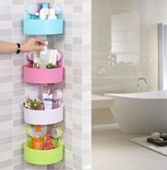 4Pcs-Bathroom Kitchen Corner Storage Shelf Holder Organiser Multicolored multi colored one size