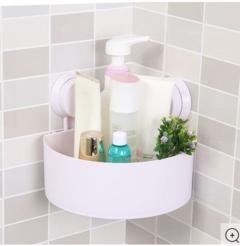 Plastic Sunction Cup Bathroom Kitchen Corner Storage Rack- white white one size