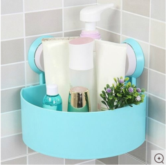 Plastic Sunction Cup Bathroom Kitchen Corner Storage Rack- white Blue one size