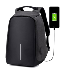 Anti Theft USB Charging Travel Shoulder Bags Business Unisex Waterproof black Black one size