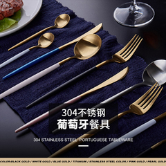 4pcs/set,304 stainless steel,Knife and fork spoon set,Western tableware Blue Gold one size