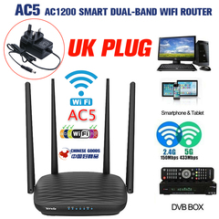 Tenda AC5 1200Mbps Smart Dual-Band WiFi Router,WiFi Repeater,1*WAN+3*LAN Ports,Routers black(UK PLUG)