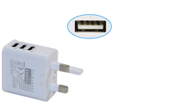 High quality 3 Pin UK Plug 3 usb Charger AC usb Power Adapter 100-240 V common one size