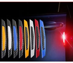 4pcs Car reflective stickers anti-collision strips, door warning stickers body luminous stickers random one