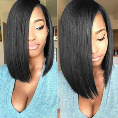 Women Wigs Bobo Hairpiece With Medium-Length And Straight Black Hairs Is Popular In Europe America black about 14 inch