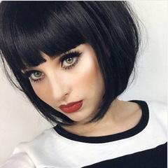 OKTOP Charming Women Short Straight Hair Office Hair Bobo Style Neat Bangs Girls Wigs Headgear light brown about 12 inch