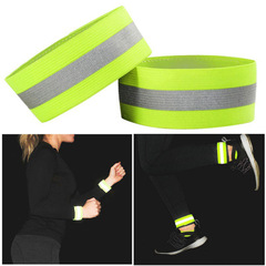 1pc Band Reflective High Visibility Elastic Wristbands Ankle Wrist Arm Warning Running Cycling Night green as picture