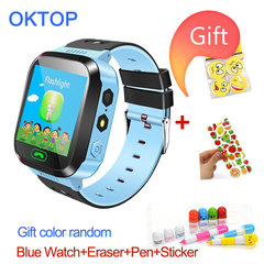 P6 Children Smart Watch Camera Lighting Touch Screen SOS Call LBS Tracking Location Finder Kids Baby blue 1* Watch+1* Eraser+1* Pen+1* Sticker