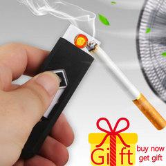 USB Charging Lighter Windproof Nice Gift Smokeless Flameless Electronic Cigarette Lighters Smoking black
