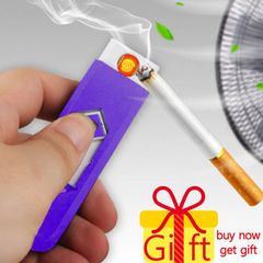 USB Charging Lighter Windproof Nice Gift Smokeless Flameless Electronic Cigarette Lighters Smoking blue