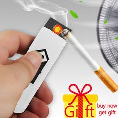 USB Charging Lighter Windproof Nice Gift Smokeless Flameless Electronic Cigarette Lighters Smoking white