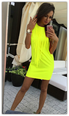 2019 Women's New European and American Fashion Hot Hot Style Pure Color Tassel Slim Dress XL FluorescentGreen