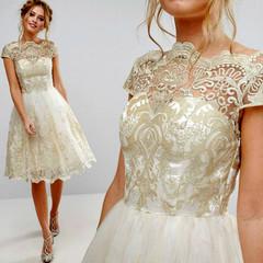 2019 hot style dress hot style dress mesh embroidery retro pompous dress L Gold