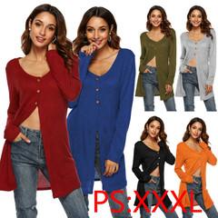 2019 New Women's Dress Irregular High Slit Cardigan Sexy T-shirt Top Coat Blue xxxl