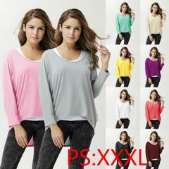 2019 Women's Newly Thickened Hot Style women's Irregular T-shirt Multi-color Knit Blouse Black xxxl