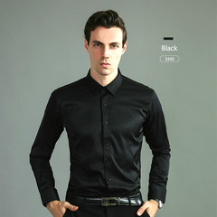 2019 New Stretch Silk Cotton Shirt Men's Shirt Long Sleeve Slim Plain Color Casual Iron Professional peacock blue 43