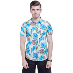 New Large-Size Men's All-Cotton Printed Cloth Short-sleeved Shirt in 2019 gd025-13 xxl