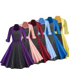 2019 female new explosion retro Hepburn wind dot stitching 50s 60s waist big swing skirt dress xxl blue