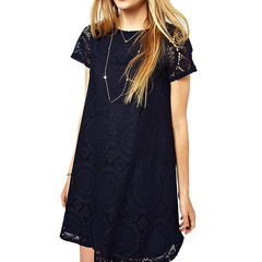 2019 New  Short Dress Women Fashion Solid Short Sleeve Dresses Robe Sexy Hollow Out Lace Party Dress xl black