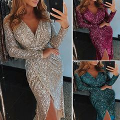 2019 New Women's Sequins Long-sleeved V-neck Shiny Dress Evening Dress Sexy Dress xxxl Purple