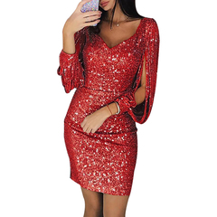 2019 Female Explosion Models  V-neck Sparkling Tassel Long-sleeved Slim Bag Hip Dress s red