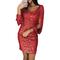 2019 Female Explosion Models  V-neck Sparkling Tassel Long-sleeved Slim Bag Hip Dress s red