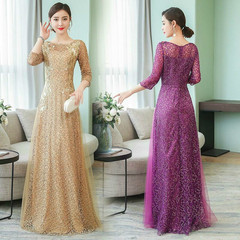 2019 Ladies Evening Dress Female New Banquet Elegant Elegant Long Large Size Heavy Work Dress Skirt m violet