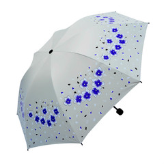 2019 Black Gum Folding Three Folding Sunny Rain Dual-use Umbrella white