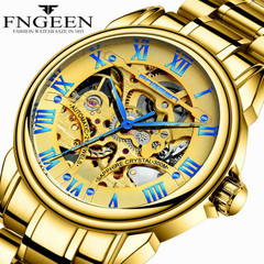 Fashionable Hollow Waterproof Leather Belt Gold Automatic MechanicalWatch yellow-gold surface one size