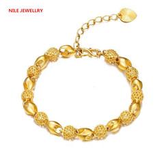 Gold-plated Vietnamese sandy gold bracelet  retro hollow bracelet lady's Buddha Bead Bracelet 23k golden color one size