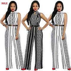 Summer  lady  Dashiki Fashion Print Elastic Sleeveless Loose Casual straight Jumpsuits Romper XXL white