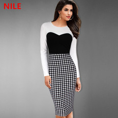 2019 new ultra low price limited  promotion women's dress houndstooth slim long sleeve pencil skirt xl white