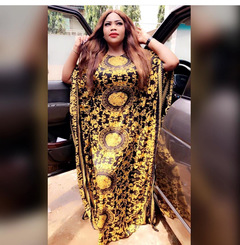 Free Size New Fashion Chiffon Super Size African Loose Long Dashiki Traditional Party Dress For Lady free size Y
