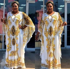 African Dresses for Women Dashiki Print African Clothes Broder Riche Plus Size Bazin Broderie Dress FREE SIZE AS PICTURE