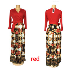 V-neck mid-sleeve dress, waist digital print mopping dress, African women's clothing xxl red