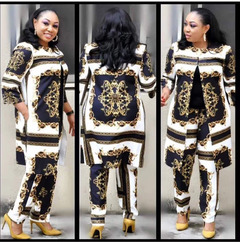 Hot new women's atmosphere fashion digital printing sleeves jacket + pants suit Large square XXXL