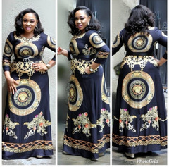 High quality  ladies dress, women's print fashion trend and long skirt, with high-grade belt XL black