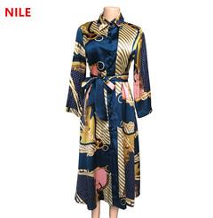 high quality ,Silky satin ladies long-sleeved shirt dress, African European women's dress XXL blue1