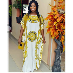 Women's Haute Couture, printed loose African explosion digital print dress, long skirt free size as picture