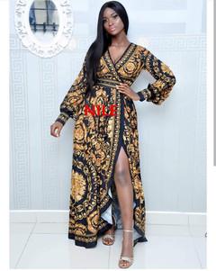 Hot women's V-neck cardigan digital printing  tied belt with split sexy dress,high quality free size 1