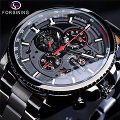 Forsining waterproof multi-function mechanical watch Men's fashion automatic mechanical watch black strap balck surface one size