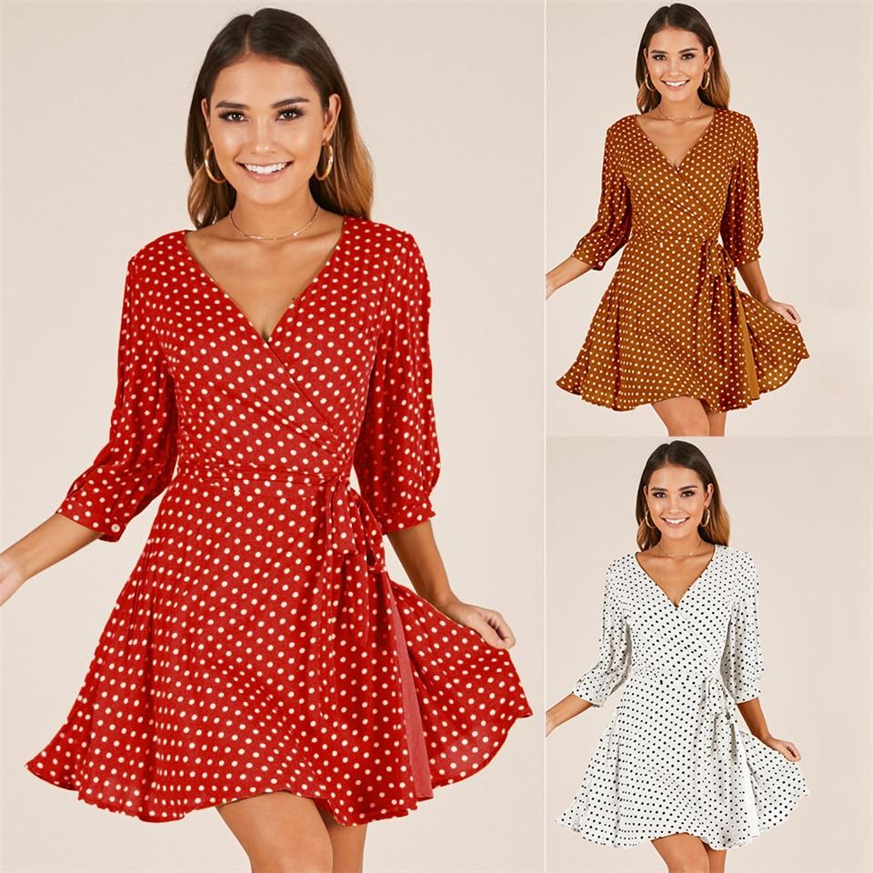 850c6f38c418f Summer Dress Beach Irregular Bow Ruffles Short Dress Women V Neck 2019  Beach Red Dress s Red