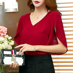 Casual solid women Chiffon Shirt Female butterfly Sleeve Korean loose size women blouse top Red wine xl