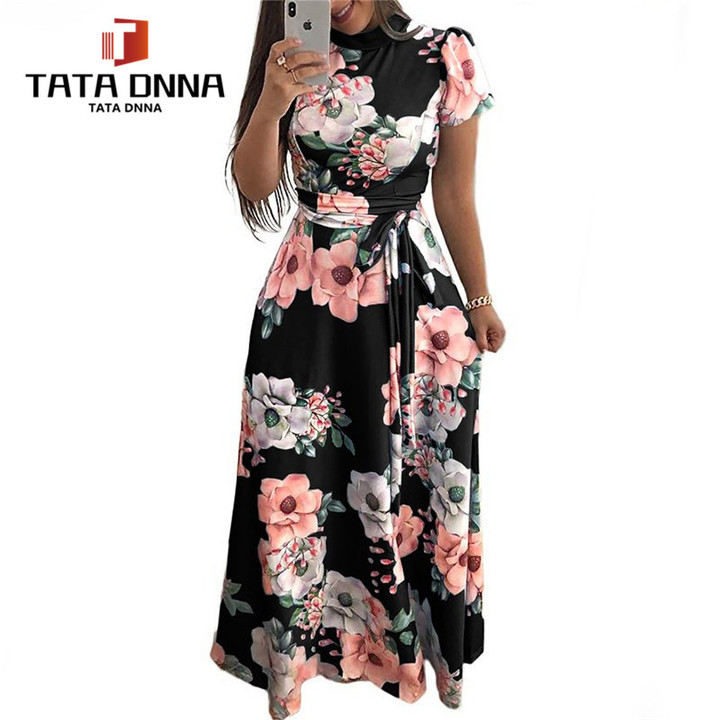 0ccb66f6eba79 New promotions in 2019,limited to 15, Party Dress,Floral Print Boho Style  Beach Dress s black