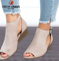 TATA Clearance Sale 1 Pairs 35-43 women sandals mid heel sandals ladies summer peep toe women shoes beige 35