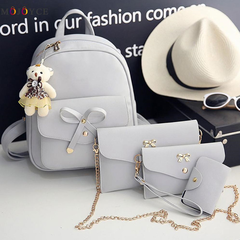 4 pcs/Set Women Backpack Small Size Fashion Teenage Girls PU Leather Backpacks with Purses gray one size