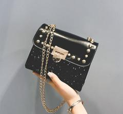 Ultra Low Price One Day\ Crazy Purchase\New chains handbag Shoulder Messenger Bags Handbags black one size a80523 PU