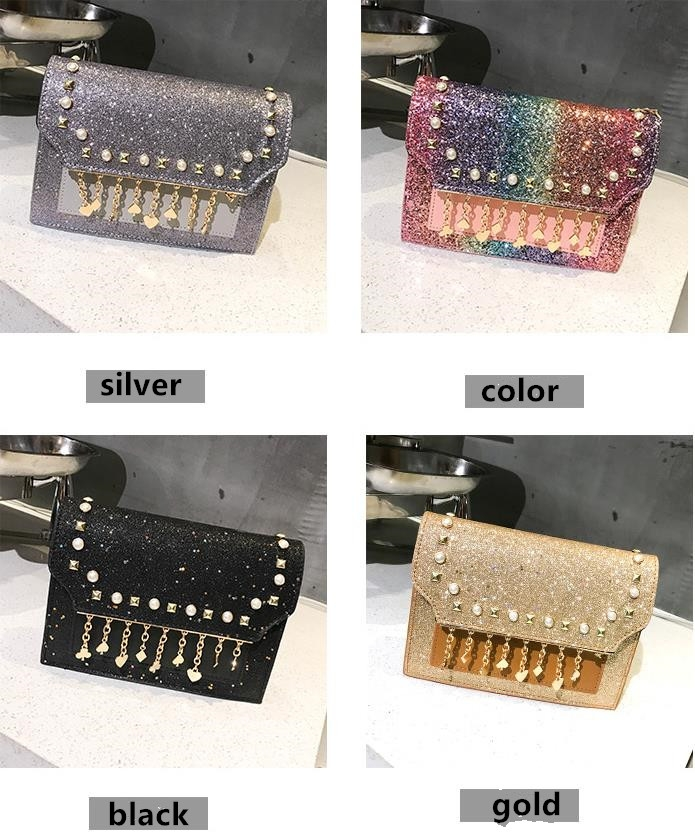 TATA New Fashion Women Shoulder Bag Chain Strap Handbags Clutch Bag Ladies Messenger Bags black one size 3