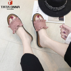 TATA Slippers female summer fashion wear non-slip sandals student beach shoes flat word drags pink 35